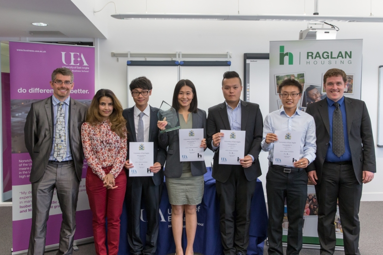 From the left: Martyn Washbourne (Raglan Housing); Ratula Chakraborty (Dir. of PG Programmes) Hong Lin, Xun Yan, Chung Lam, Matiuan Liu, and Robert Smyth (Raglan Housing).