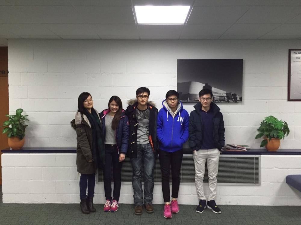 Team 3: Name left to right: YAU Hiu Ying Maria (Maria), HO Tsz Ching (Natalie), Pak Wang KWOK (Dickie), Kam Wa CHAN  (William), LIM Hao Yin (Lim).