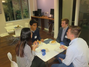 Committee members from the Business Society, Enactus and the Investment Society networking with alumni Andrew Brown from Banham Zoo.