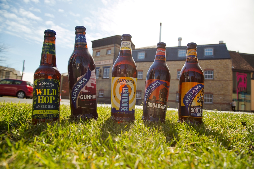 Adnams beers made with British hops outside the brewery