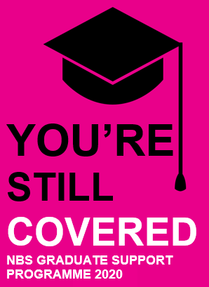 """Icon of a mortarboard style graduation cap, followed by the title """"You're still Covered - NBS Graduate Support Programme 2020"""""""